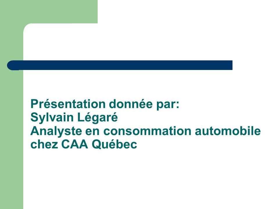 Présentation donnée par: Sylvain Légaré Analyste en consommation automobile chez CAA Québec
