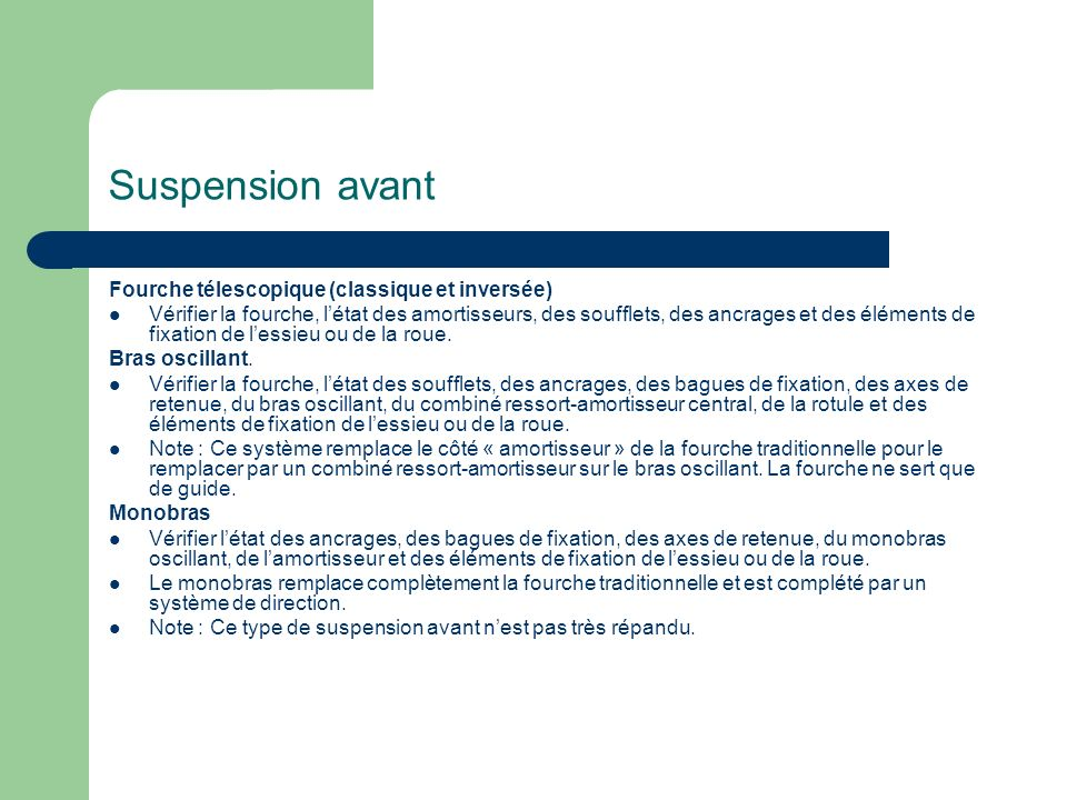 Suspension avant Fourche télescopique (classique et inversée)