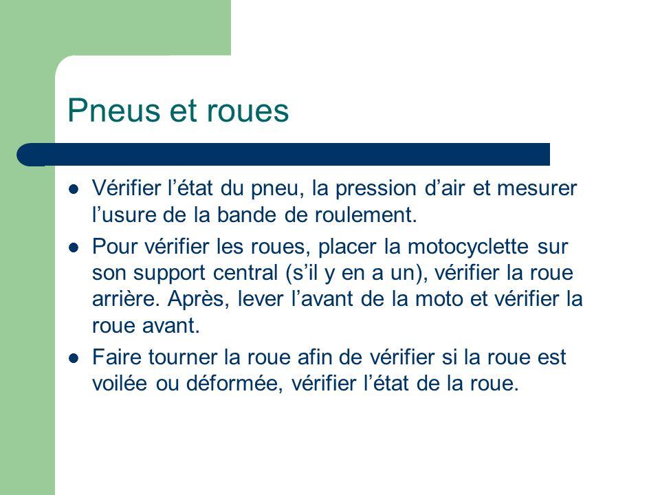 Pneus et roues Vérifier l'état du pneu, la pression d'air et mesurer l'usure de la bande de roulement.