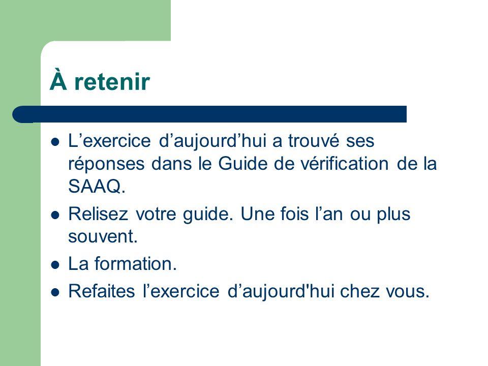 À retenir L'exercice d'aujourd'hui a trouvé ses réponses dans le Guide de vérification de la SAAQ.
