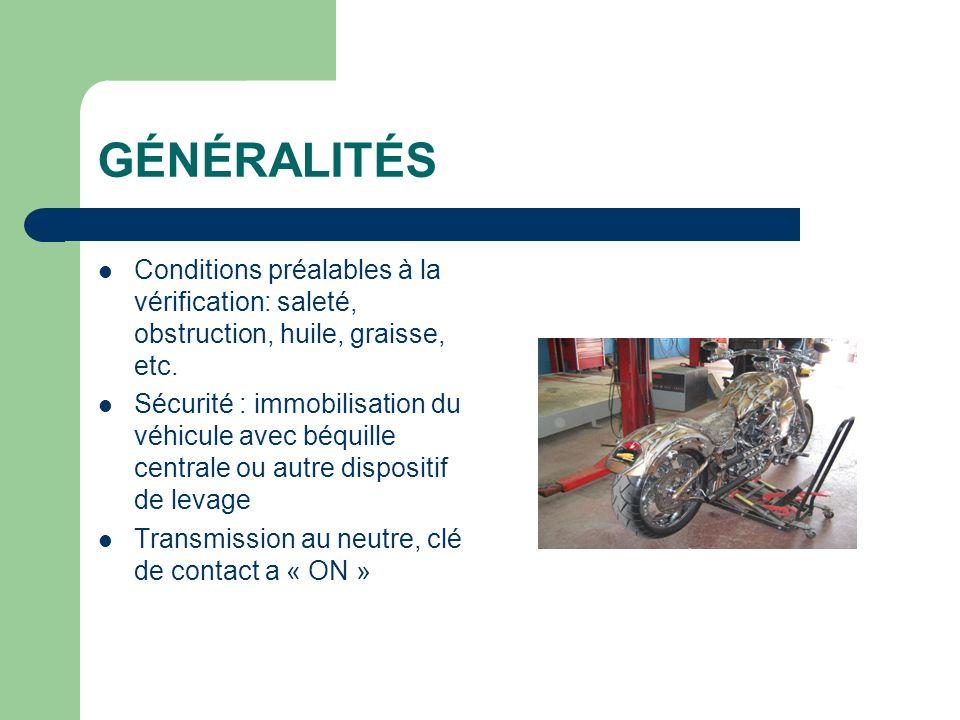 GÉNÉRALITÉS Conditions préalables à la vérification: saleté, obstruction, huile, graisse, etc.