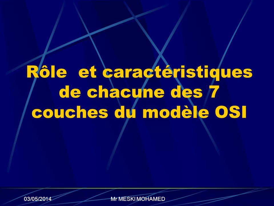 Rôle et caractéristiques de chacune des 7 couches du modèle OSI