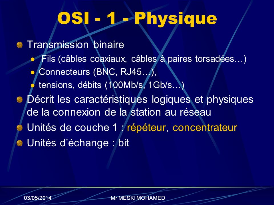 OSI - 1 - Physique Transmission binaire