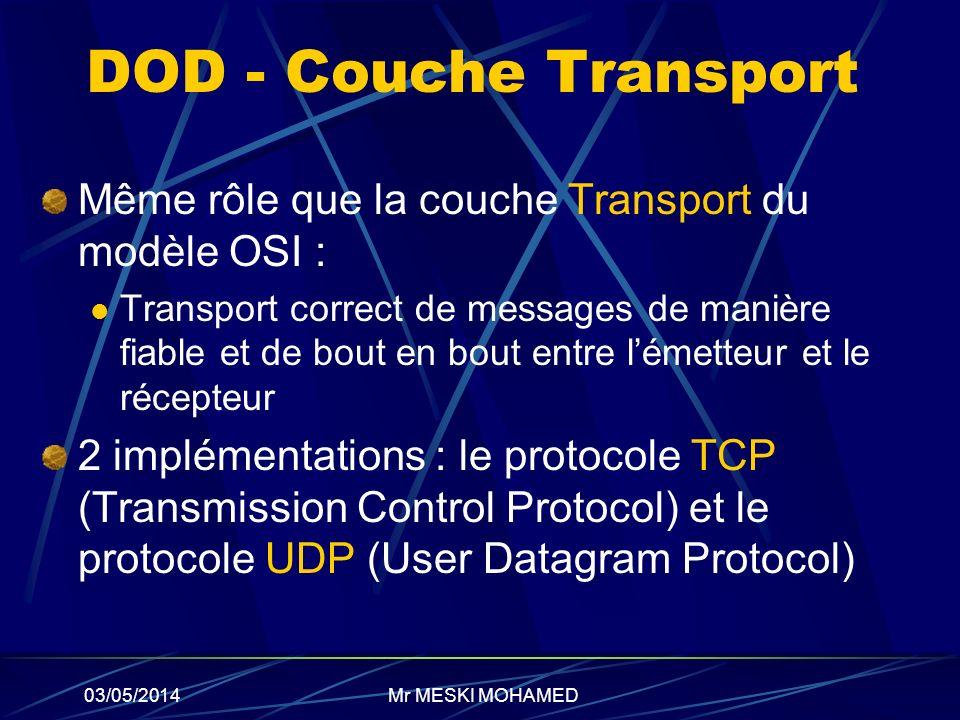 DOD - Couche Transport Même rôle que la couche Transport du modèle OSI :