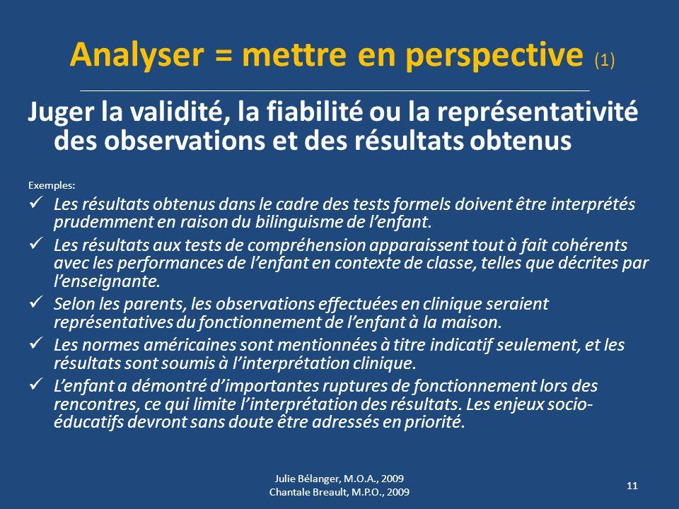 Analyser = mettre en perspective (1)