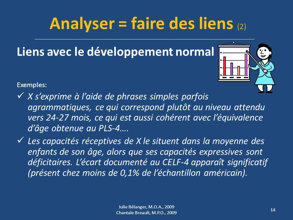 Analyser = faire des liens (2)