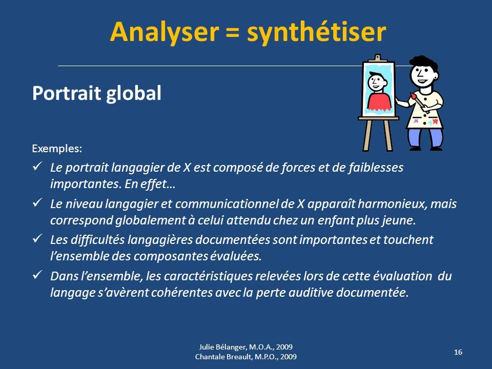Analyser = synthétiser