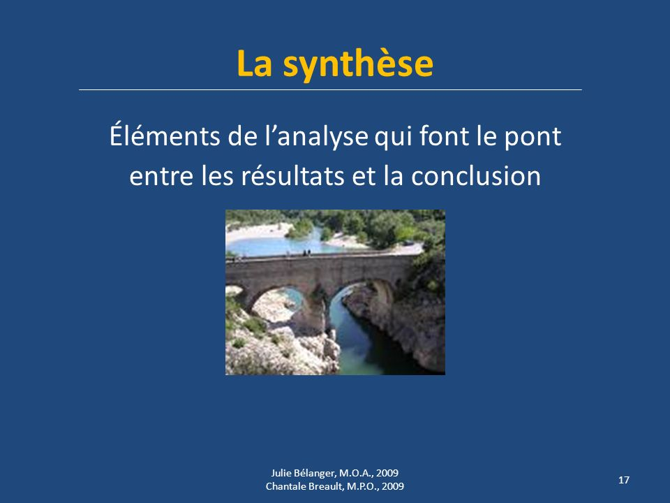 La synthèse Éléments de l'analyse qui font le pont