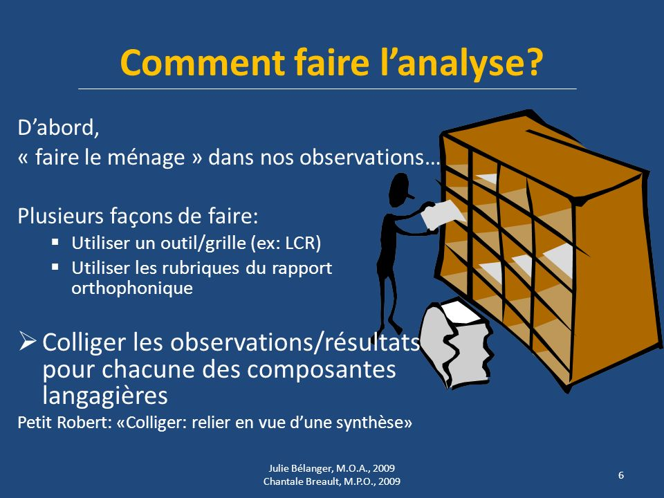 Comment faire l'analyse