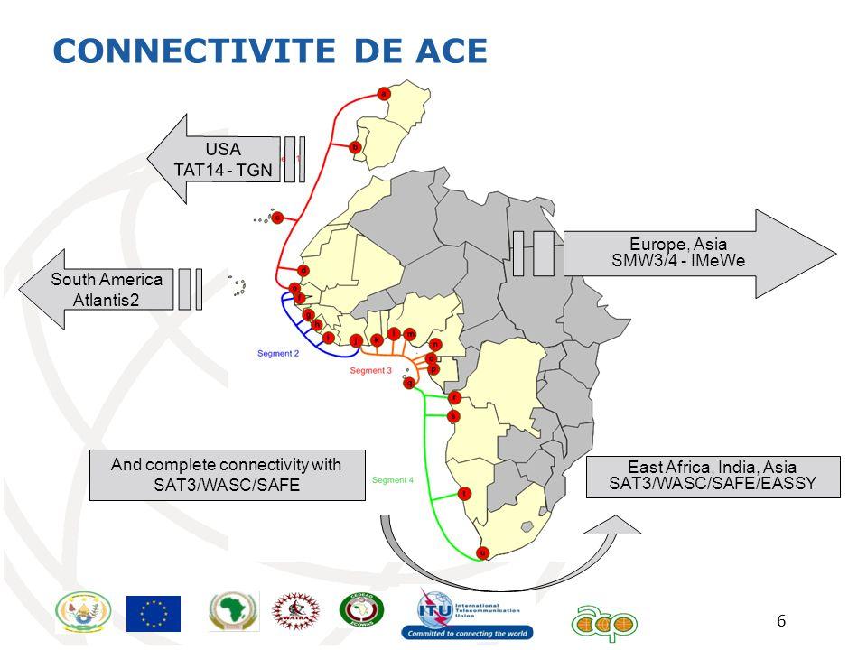 CONNECTIVITE DE ACE Europe TAT14 - TGN USA TAT14 - TGN