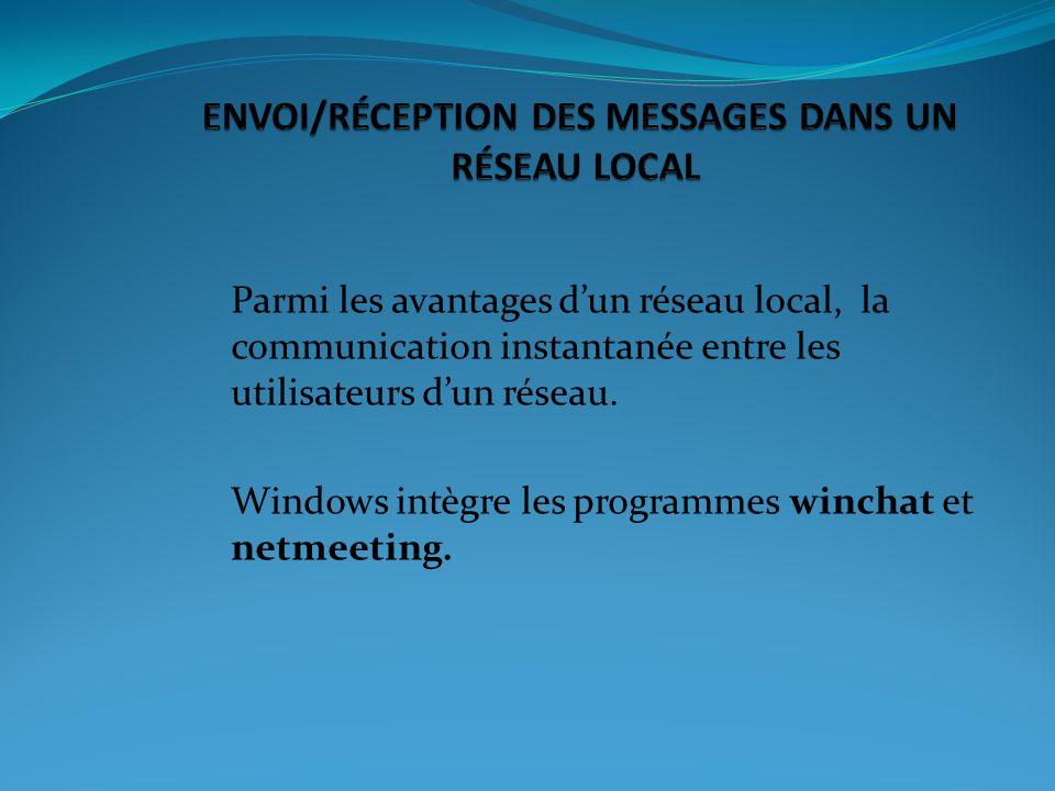 ENVOI/RÉCEPTION DES MESSAGES DANS UN RÉSEAU LOCAL