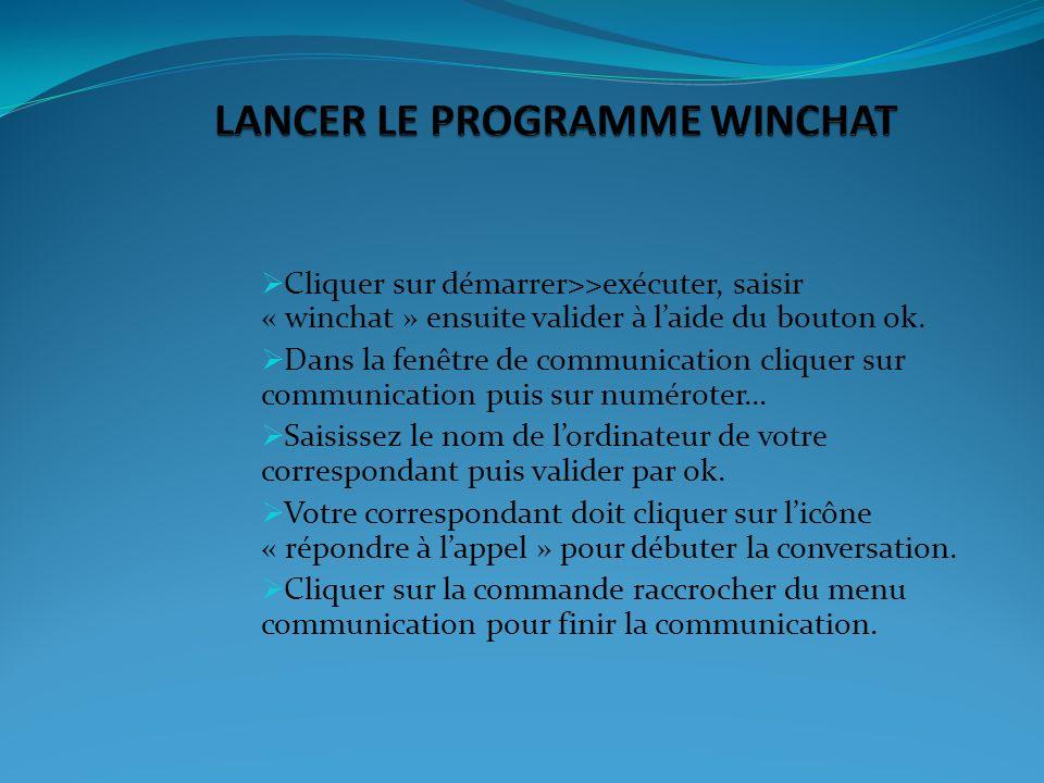 LANCER LE PROGRAMME WINCHAT