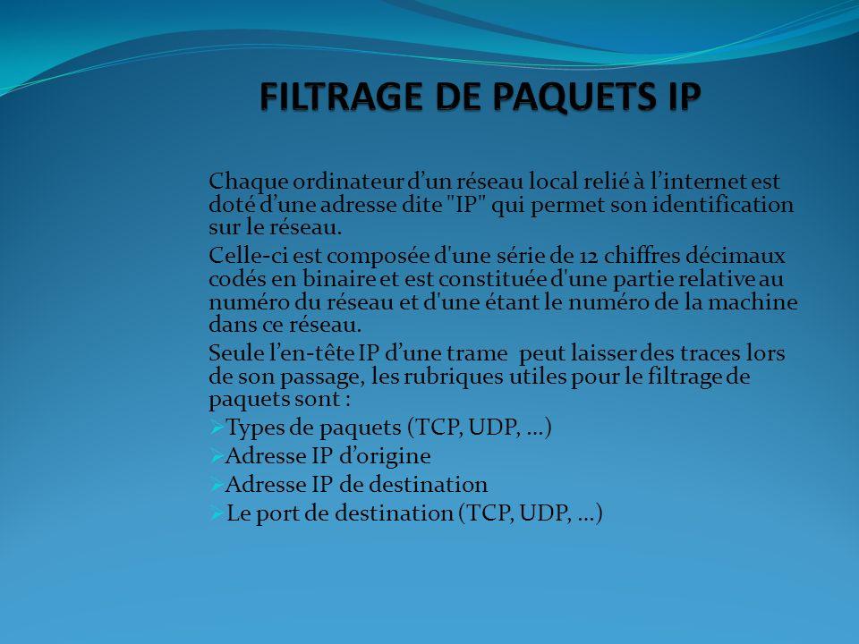 FILTRAGE DE PAQUETS IP