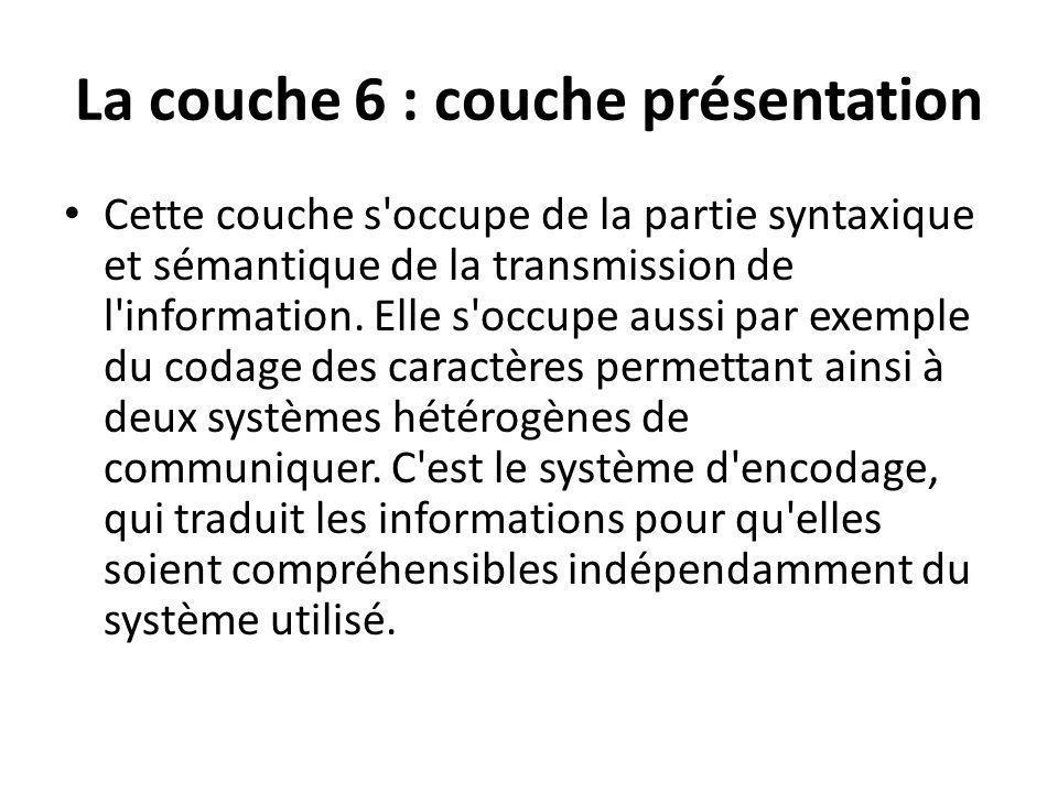 La couche 6 : couche présentation
