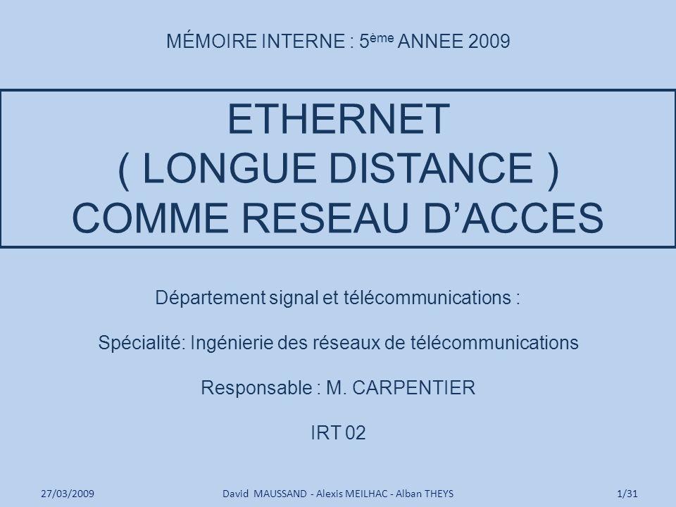 ETHERNET ( LONGUE DISTANCE ) COMME RESEAU D'ACCES
