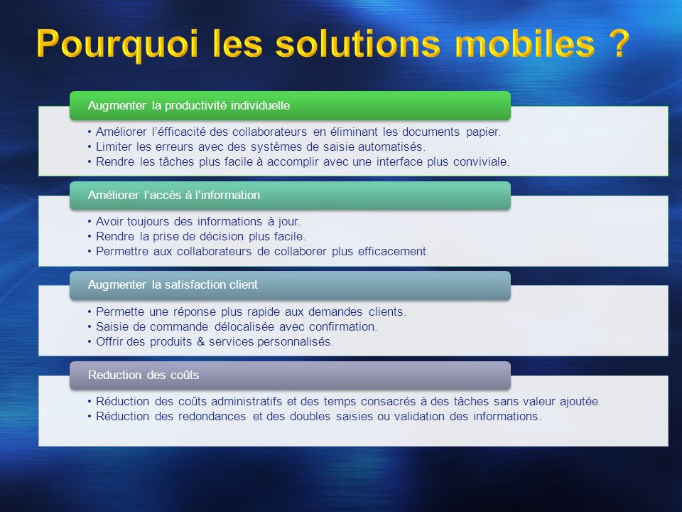 Pourquoi les solutions mobiles