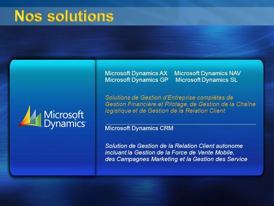 3/30/2017 9:40 AM3/30/2017 9:40 AM. Nos solutions. Microsoft Dynamics AX Microsoft Dynamics NAV Microsoft Dynamics GP Microsoft Dynamics SL.