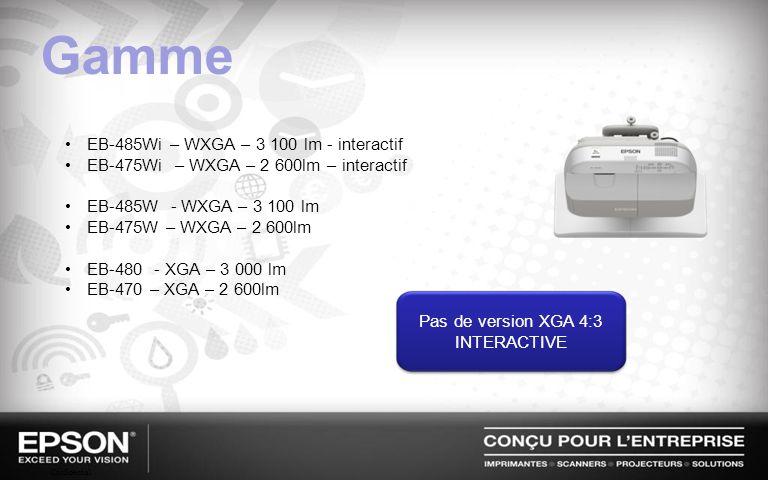 Gamme EB-485Wi – WXGA – 3 100 lm - interactif