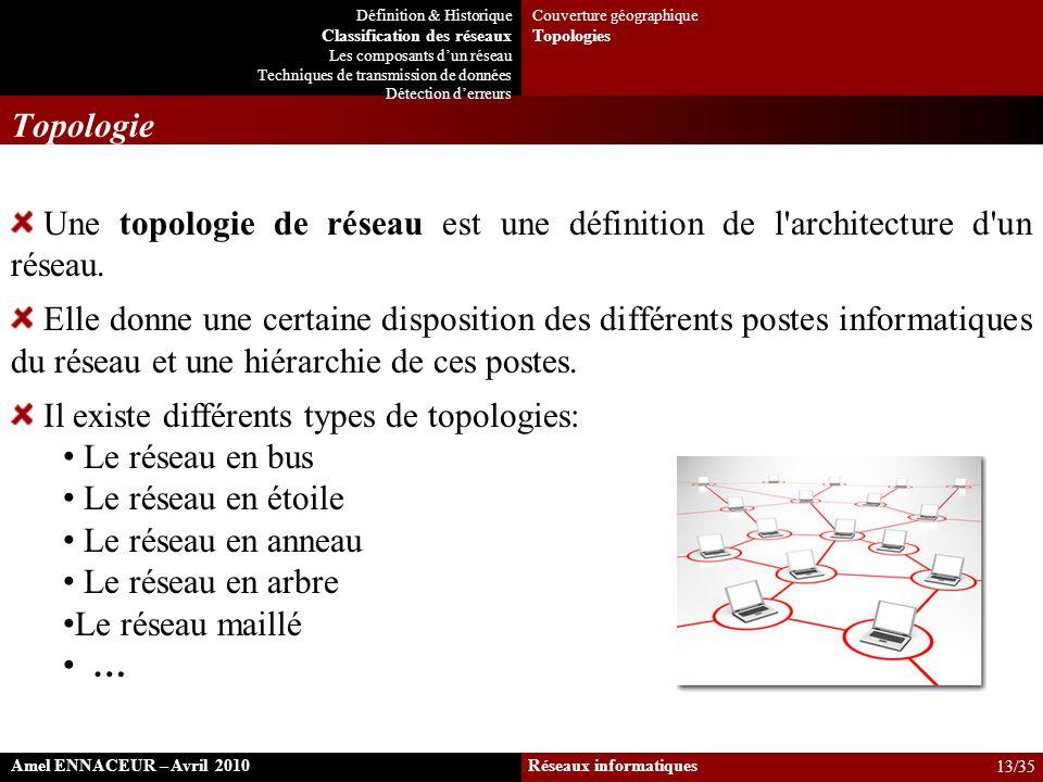 Il existe différents types de topologies: Le réseau en bus