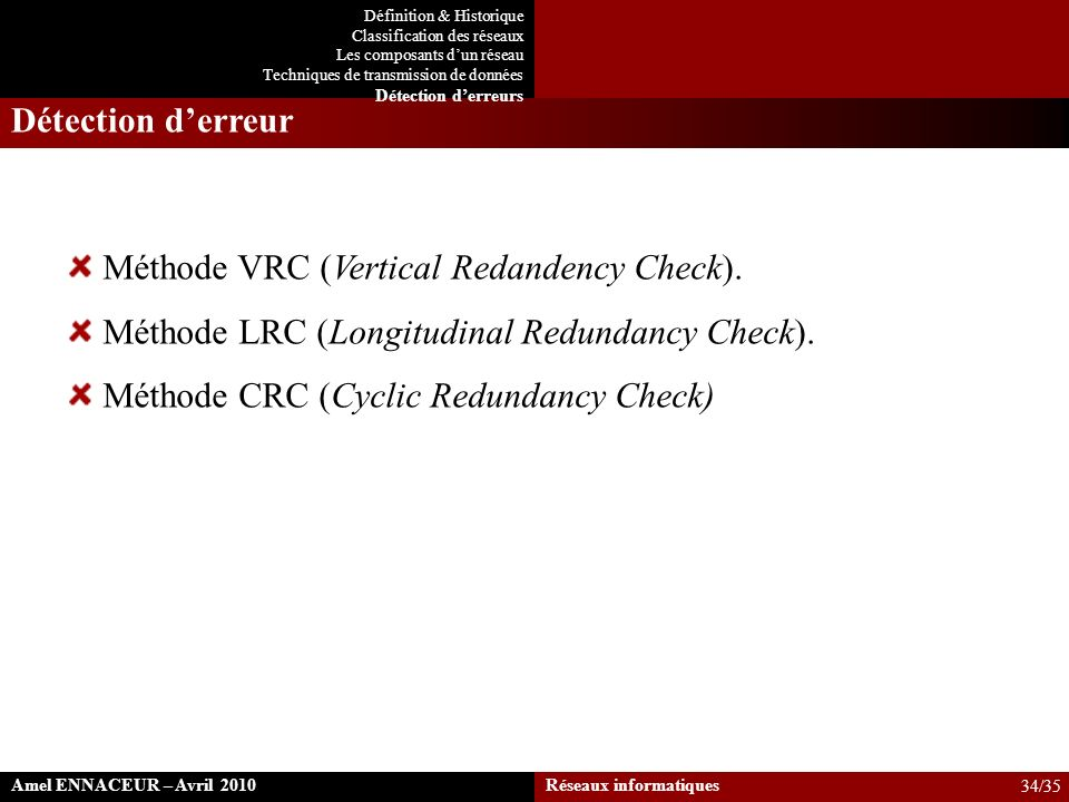 Méthode VRC (Vertical Redandency Check).