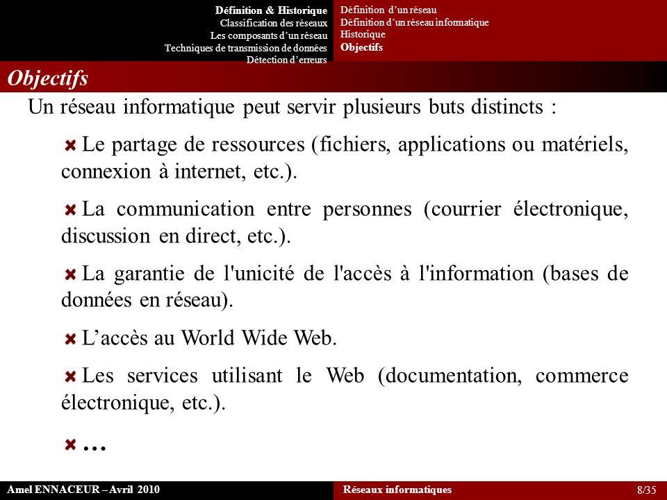 Un réseau informatique peut servir plusieurs buts distincts :