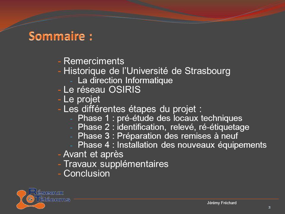Sommaire : - Remerciments - Historique de l'Université de Strasbourg