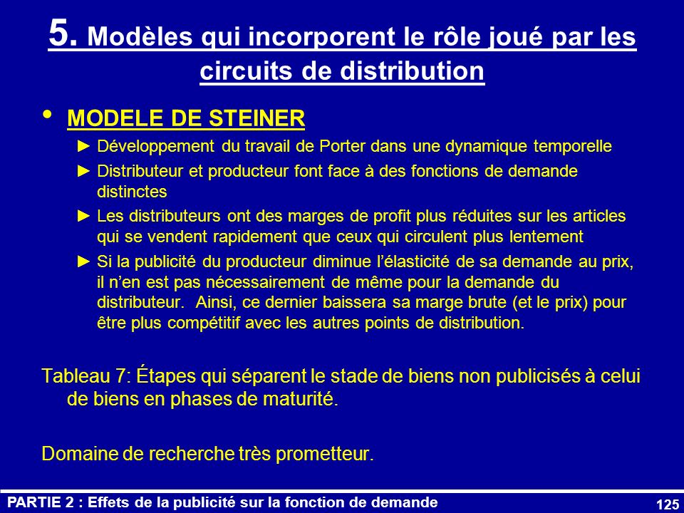 5. Modèles qui incorporent le rôle joué par les circuits de distribution