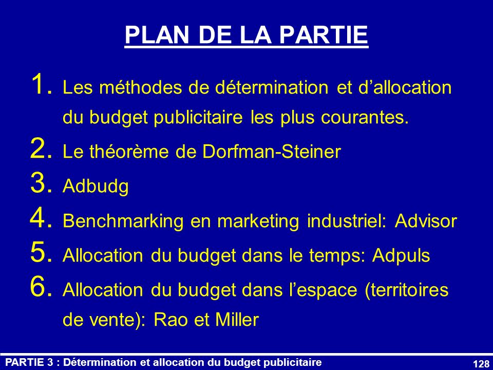 PLAN DE LA PARTIE Les méthodes de détermination et d'allocation du budget publicitaire les plus courantes.
