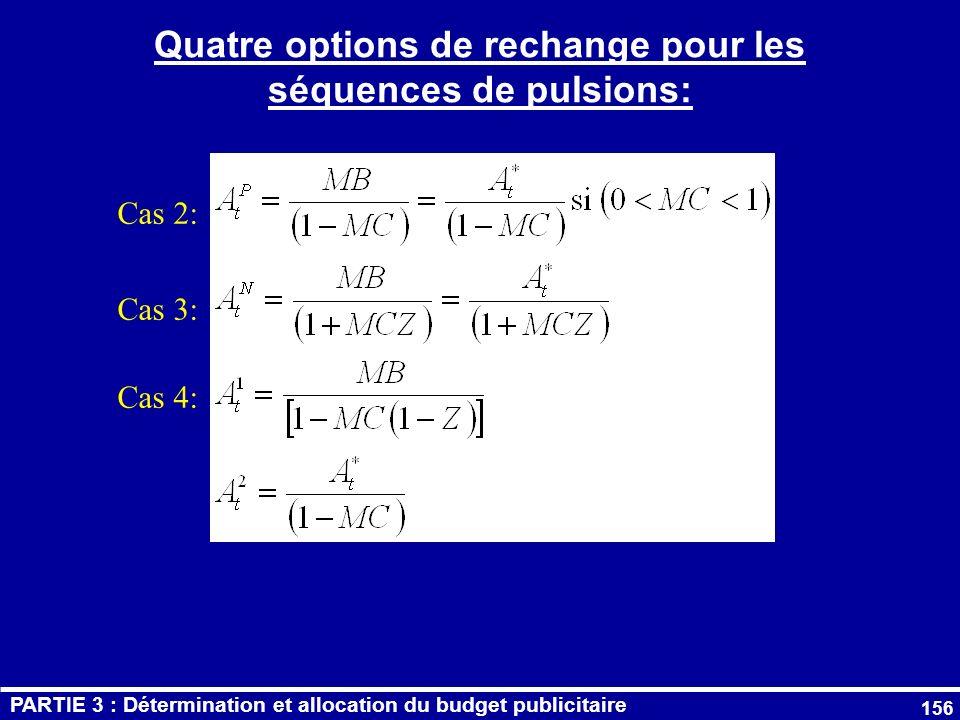Quatre options de rechange pour les séquences de pulsions: