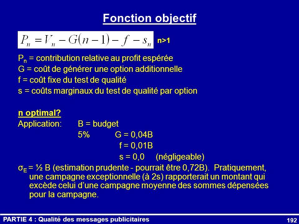 Fonction objectif Pn = contribution relative au profit espérée