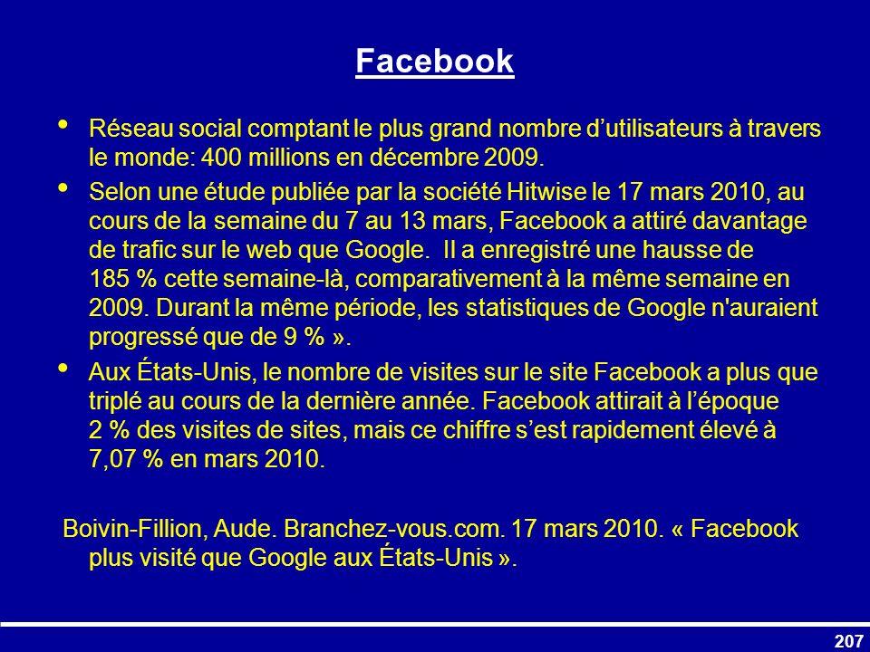 Facebook Réseau social comptant le plus grand nombre d'utilisateurs à travers le monde: 400 millions en décembre 2009.