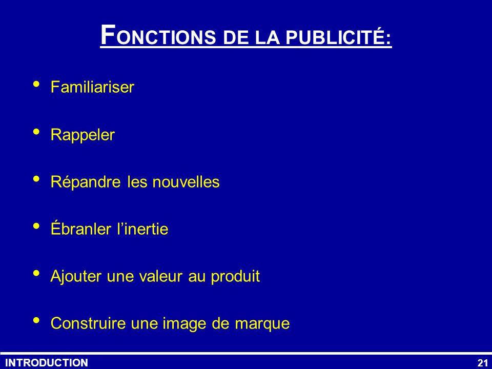 FONCTIONS DE LA PUBLICITÉ: