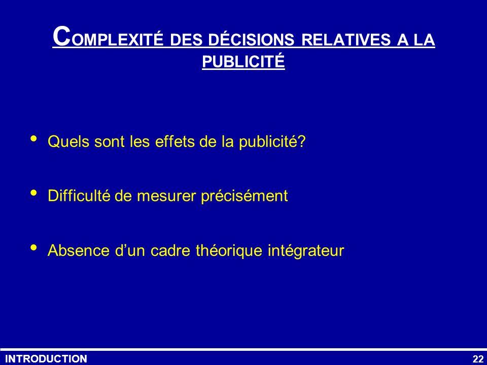COMPLEXITÉ DES DÉCISIONS RELATIVES A LA PUBLICITÉ