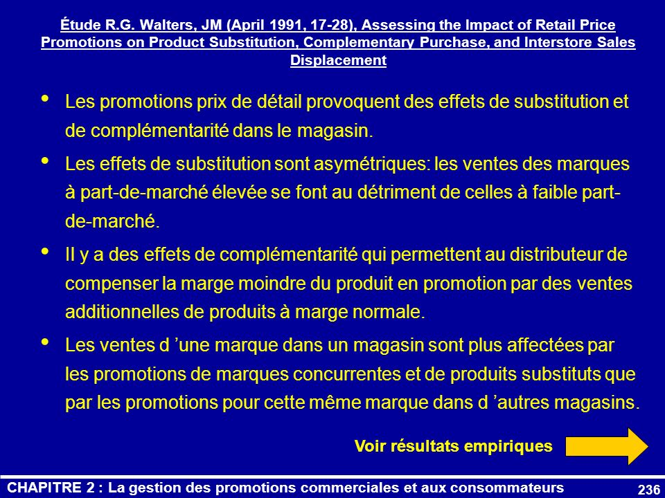 Étude R.G. Walters, JM (April 1991, 17-28), Assessing the Impact of Retail Price Promotions on Product Substitution, Complementary Purchase, and Interstore Sales Displacement