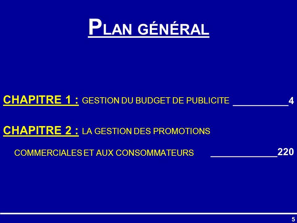 PLAN GÉNÉRAL CHAPITRE 1 : GESTION DU BUDGET DE PUBLICITE