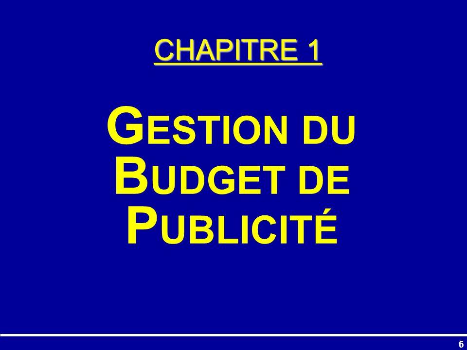 GESTION DU BUDGET DE PUBLICITÉ