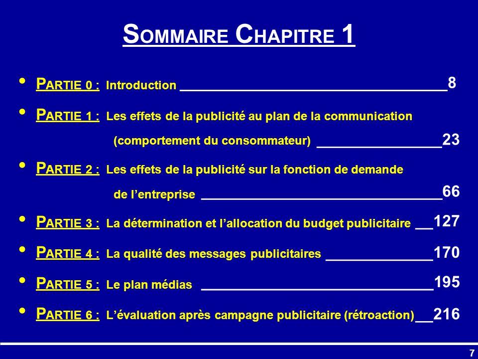 SOMMAIRE CHAPITRE 1 PARTIE 0 : Introduction