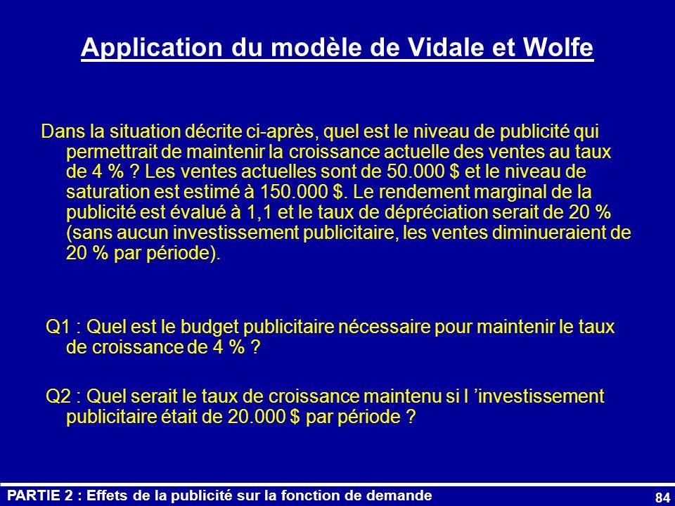 Application du modèle de Vidale et Wolfe