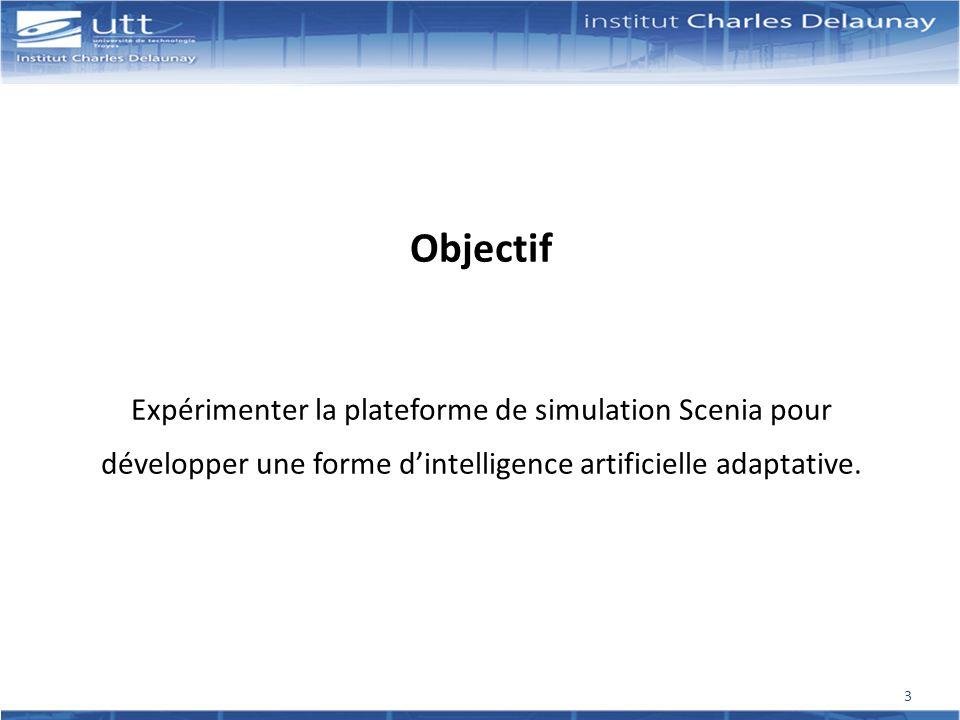 Objectif Expérimenter la plateforme de simulation Scenia pour développer une forme d'intelligence artificielle adaptative.