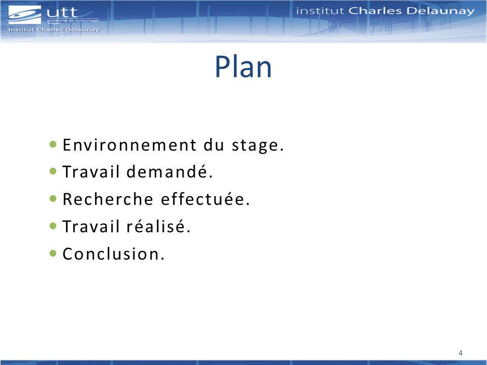 Plan Environnement du stage. Travail demandé. Recherche effectuée.