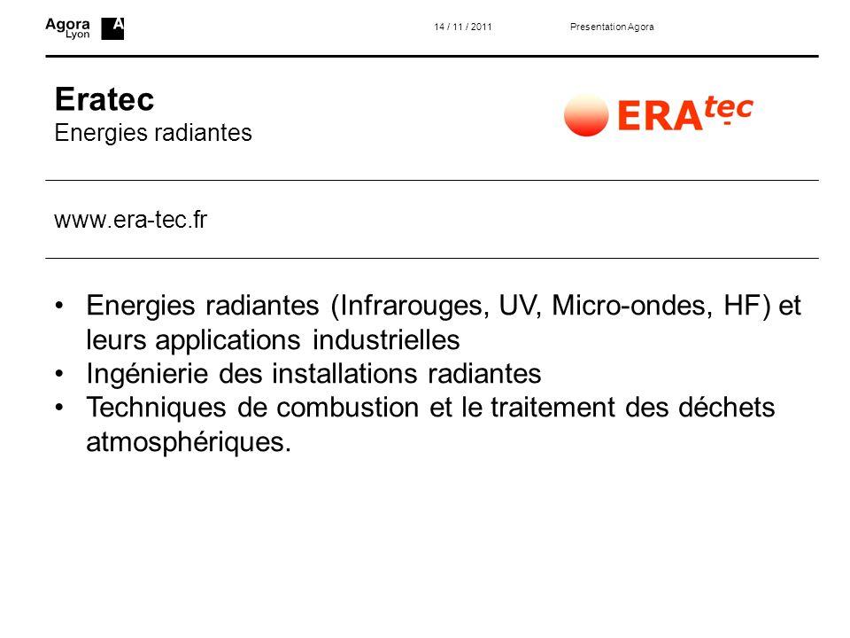 14 / 11 / 2011 Presentation Agora. Eratec. Energies radiantes. www.era-tec.fr.