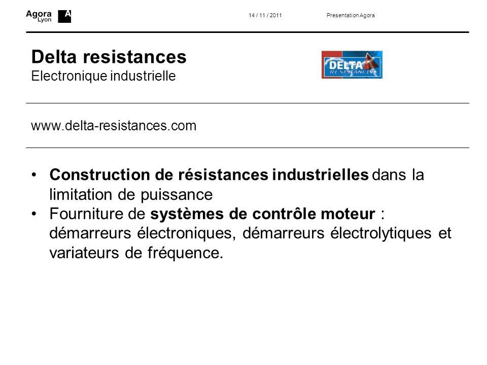 14 / 11 / 2011 Presentation Agora. Delta resistances. Electronique industrielle. www.delta-resistances.com.