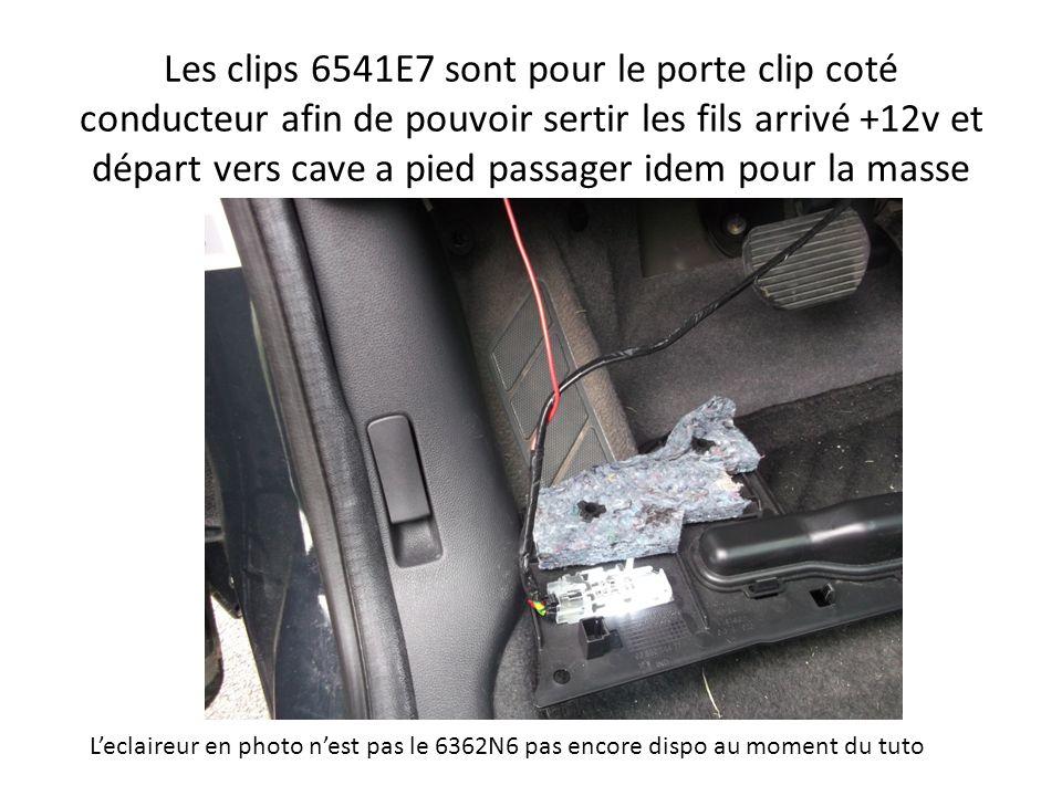 Les clips 6541E7 sont pour le porte clip coté conducteur afin de pouvoir sertir les fils arrivé +12v et départ vers cave a pied passager idem pour la masse