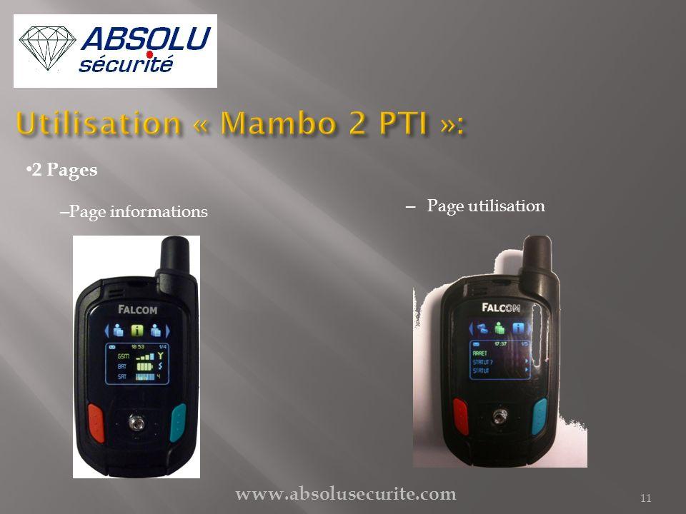 Utilisation « Mambo 2 PTI »: