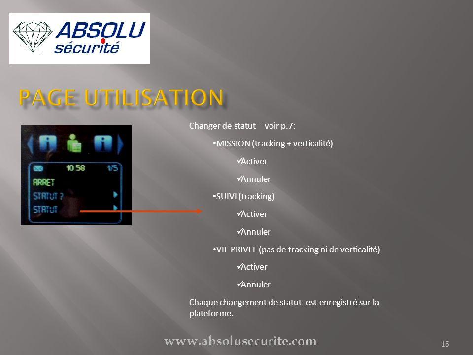 Page utilisation www.absolusecurite.com Changer de statut – voir p.7: