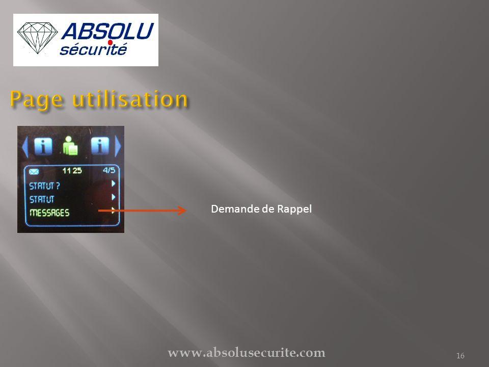 Page utilisation Demande de Rappel www.absolusecurite.com