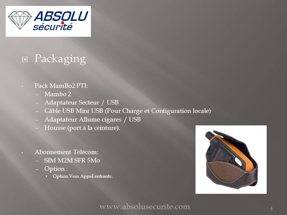 Packaging www.absolusecurite.com Pack MamBo2 PTI: Mambo 2