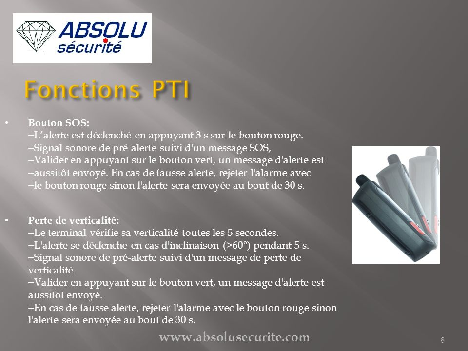 Fonctions PTI www.absolusecurite.com Bouton SOS: