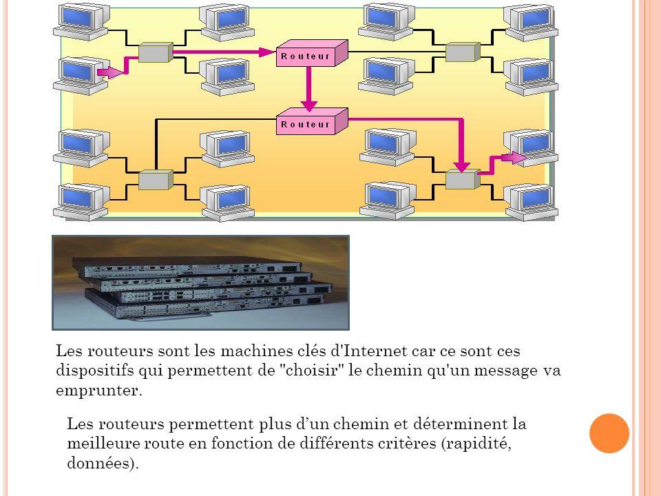 Les routeurs sont les machines clés d Internet car ce sont ces dispositifs qui permettent de choisir le chemin qu un message va emprunter.