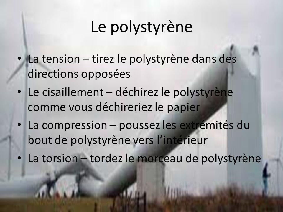 Le polystyrène La tension – tirez le polystyrène dans des directions opposées.